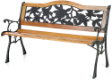 "iKayaa 50"" Cast Iron Wood Outdoor Bench for $60 + free shipping"