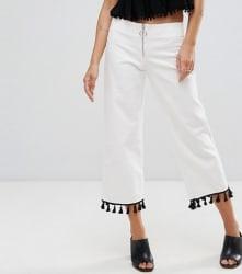 Mango Women's Slim Fit Cropped Tassel Pants $42