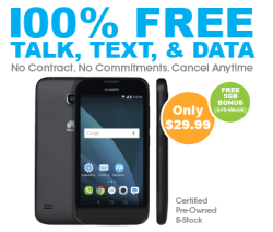 100% Free Service w/Refurb Huawei Union Phone $30