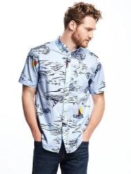 Old Navy Men's Nautical-Print Classic Shirt $15