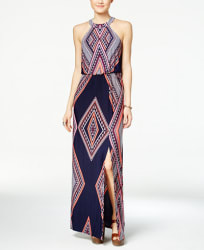Trixxi Women's Printed Halter Maxi Dress for $24