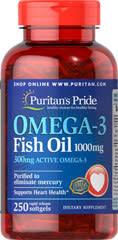 250 Puritan's Pride Omega-3 Fish Oil Softgels $16