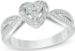 Diamond Accent Heart Frame Ring for $30