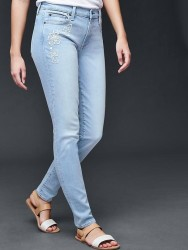 Gap Women's Embroidered Skinny Jeans for $17