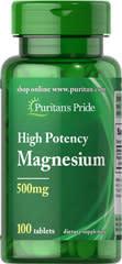 Puritan's Pride Magnesium 500mg 100ct Bottle