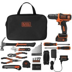 Black and Decker 12V Drill, 64pc Project Kit