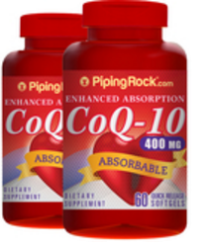 2 Piping Rock CoQ10 400mg 60-Count Bottles for $26