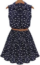 SheIn Women's Lapel Cat Print Shirt Dress for $16