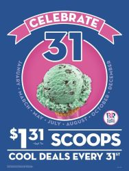 Upcoming: Baskin-Robbins Ice Cream Scoops for $1
