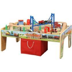 Wooden Train Table & 50-Pc. Set