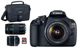 Canon EOS Rebel T5 18MP DSLR Camera Bundle w/ 2 Lenses, Bag & Card